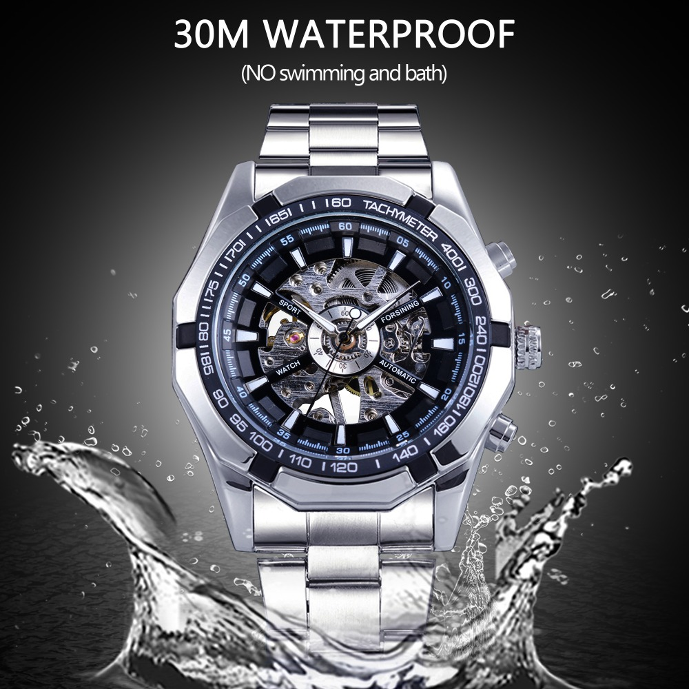 Watches ... Men's Watches ... 32822051169 ... 4 ... Forsining 2017 Silver Stainless Steel Waterproof Mens Skeleton Watches Top Brand Luxury Transparent Mechanical Male Wrist Watch ...