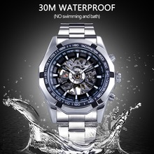 Luxury Transparent Mechanical Stainless Steel Wrist Watch