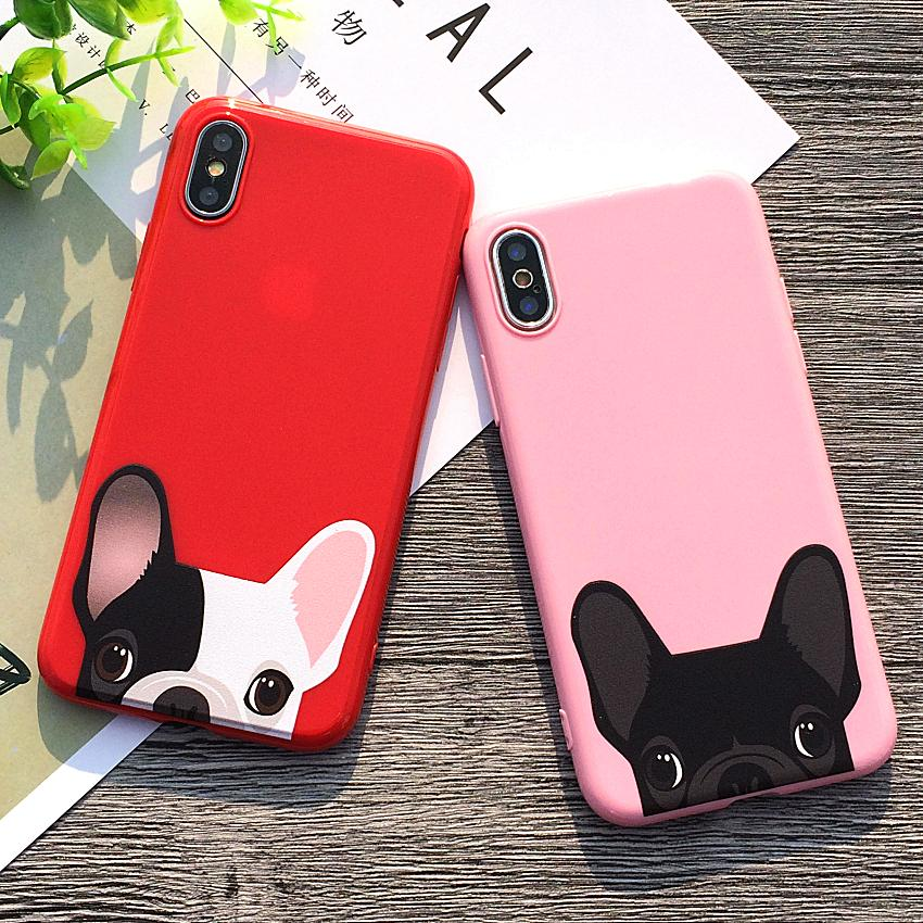 Free Shipping Warm Dog Bulldog Pink And Red Case For iPhone X 10 Case Soft Silicon Cover For iPhone 7 8 6s Plus 5S SE Case