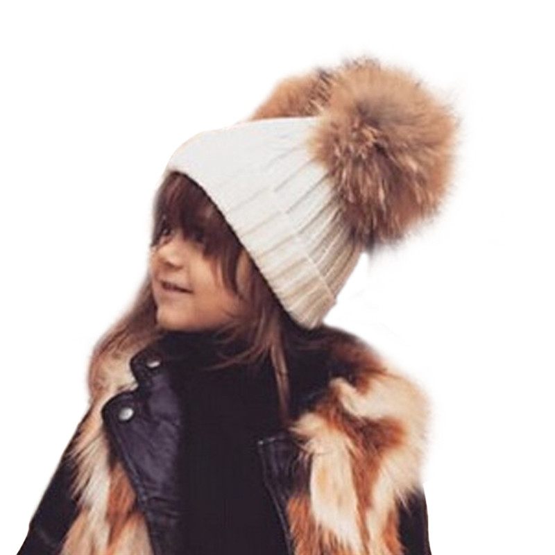 Kids Fur Pompom Hat Wool Knitted Children Winter Caps 2017 Natural Rabbit Fur Ball Pom Pom Hat Mink Beanies For Baby Boys Girls new star spring cotton baby hat for 6 months 2 years with fluffy raccoon fox fur pom poms touca kids caps for boys and girls