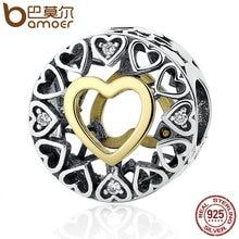 Bamoer regalo del día de san valentín 925 de plata esterlina corazón círculo amoroso, Clear CZ Granos de Los Encantos Cupieron la Pulsera Joyería de Las Mujeres PSC050