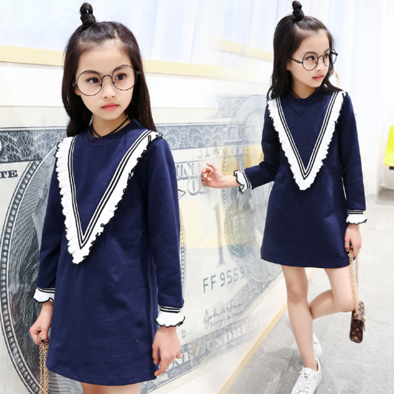 2017 New Autumn Winter Girls Dresses Clothing Solid Cotton Full Sleeve Lace Kids Dress Casual Fashion Children Clothes Qds001