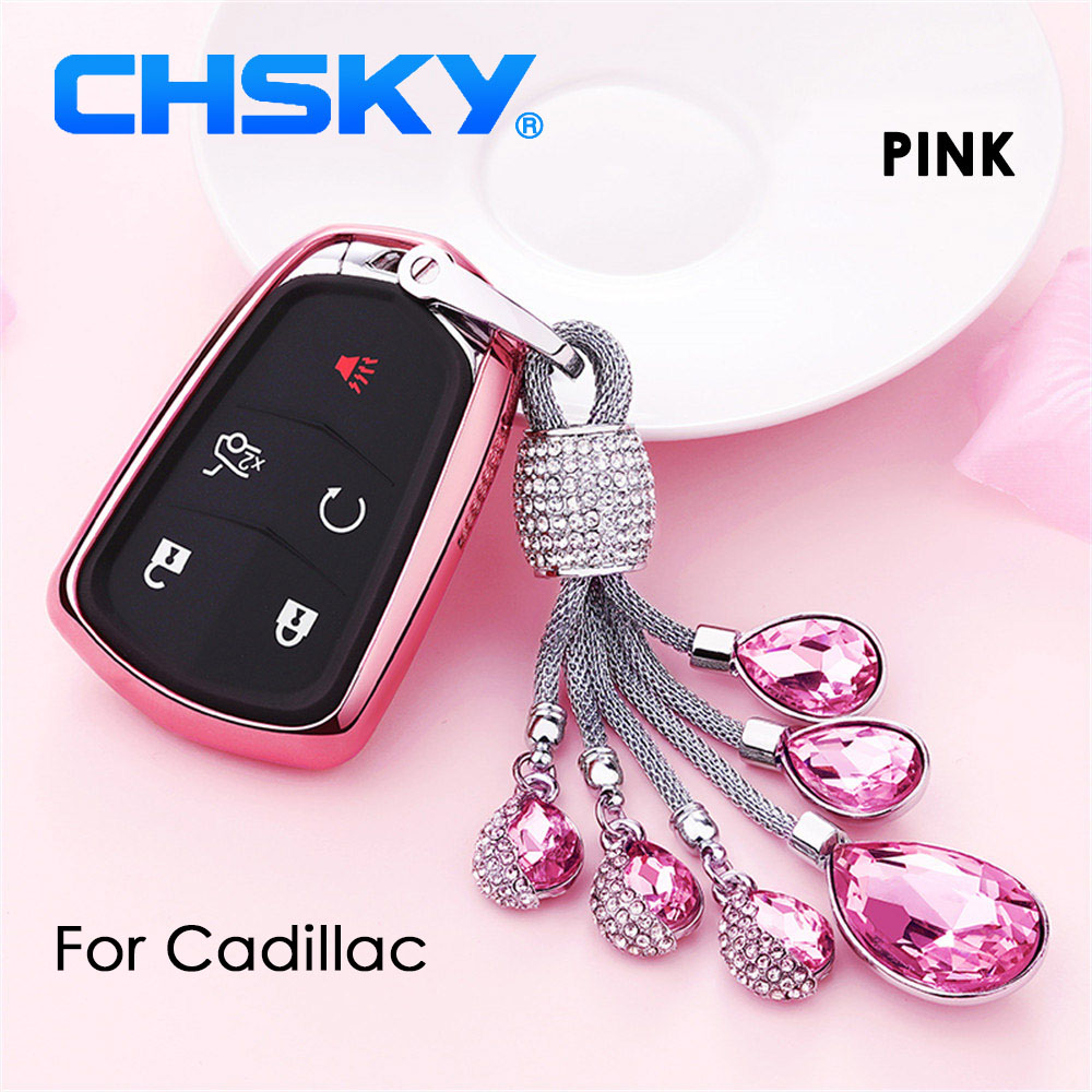 Chsky Car Styling Tpu Car Key Case Shell Crystal Chain For Cadillac Cts Xts Ats Ats-l Xls Srx Auto Key Car Covers Accessories Attractive Appearance