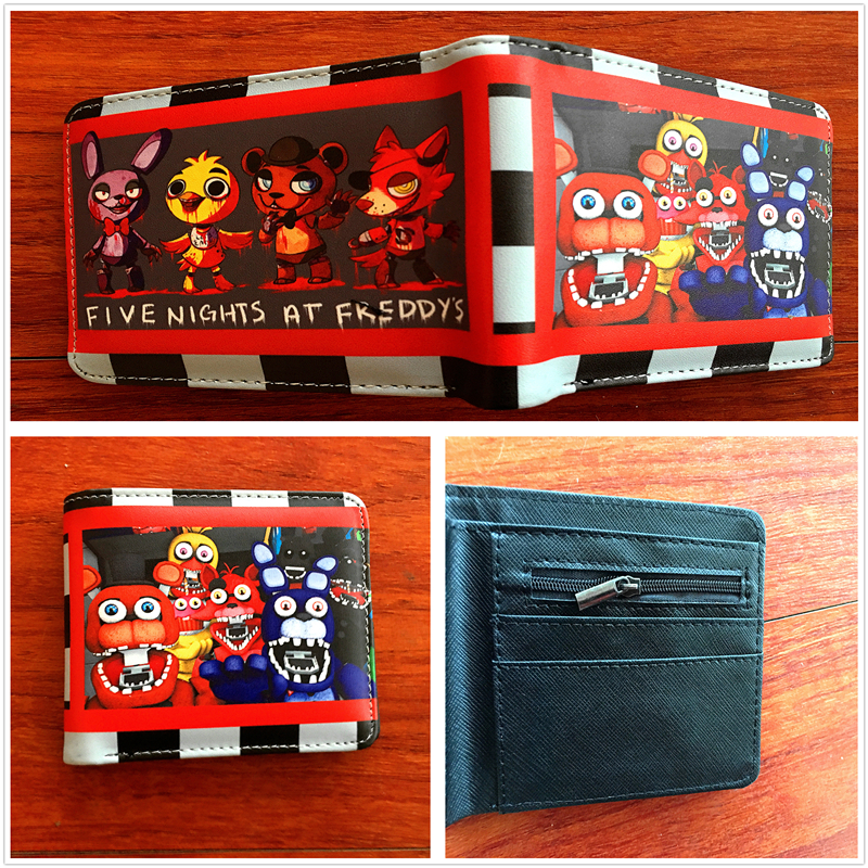 2018 New arrivel Anime Five Nights At Freddy Bonnie Fazbear Freddy Cartoon Short PU Leather BiFold Card Holder Slim Wallet W691
