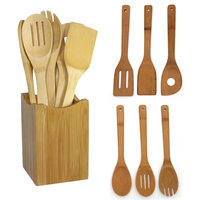 New 6 Pieces Bamboo Spoon Spatula Mixing Set Utensil Kitchen Wooden Cooking Tool