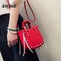 Hot Sale Leather Handbags Women Crossbody Messenger Bag Ladies Tote Rivet Tassel Bucket Bag Shoulder Bags
