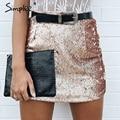 Simplee sexy oro lentejuela bodycon falda lápiz falda vintage negro de la cremallera de la falda de las mujeres elegantes del partido de tarde del club de la falda corta