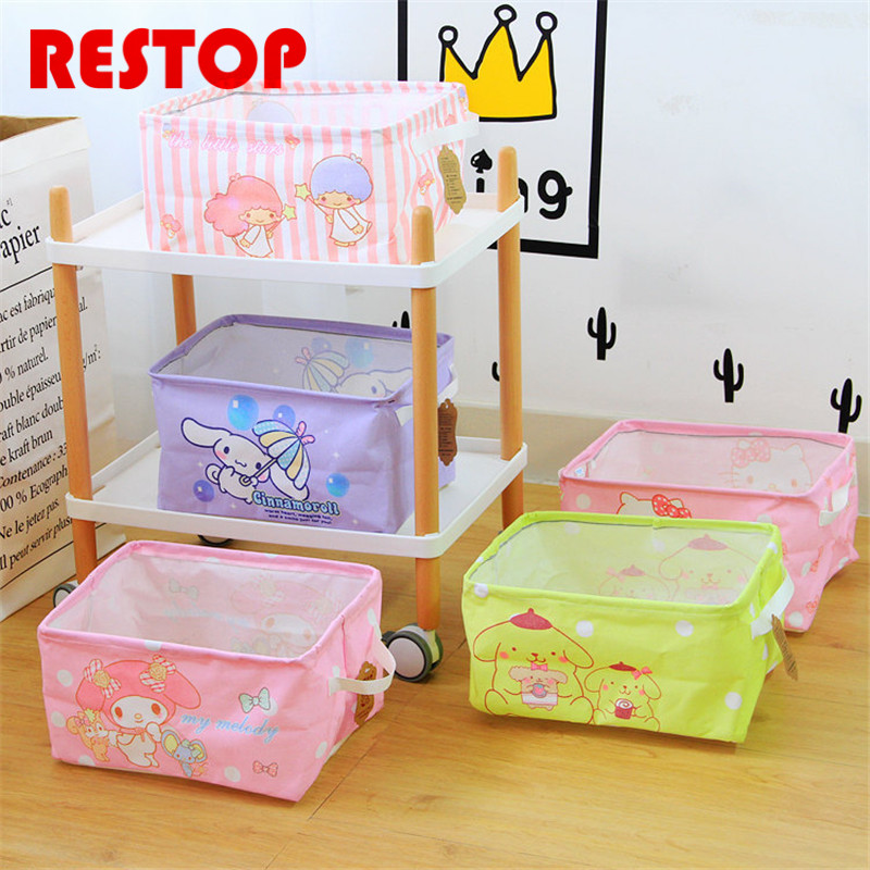 Pink Hello kitty&Melody Square Cotton Linen Laundry Basket Cotton Washing Clothes Storage Bag Basket Storage Toy Bag RES641