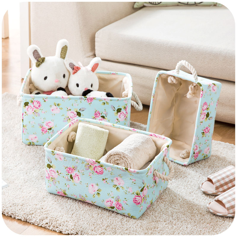 Fresh floral fabric washable storage box, large canvas clothes cosmetic finishing box storage box
