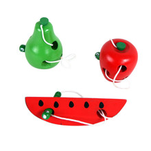 Montessori Educational Toys Fun Wooden toy Worm Eat Fruit Apple pear Early Learning Teaching Aid Baby Toy Gift For Kids
