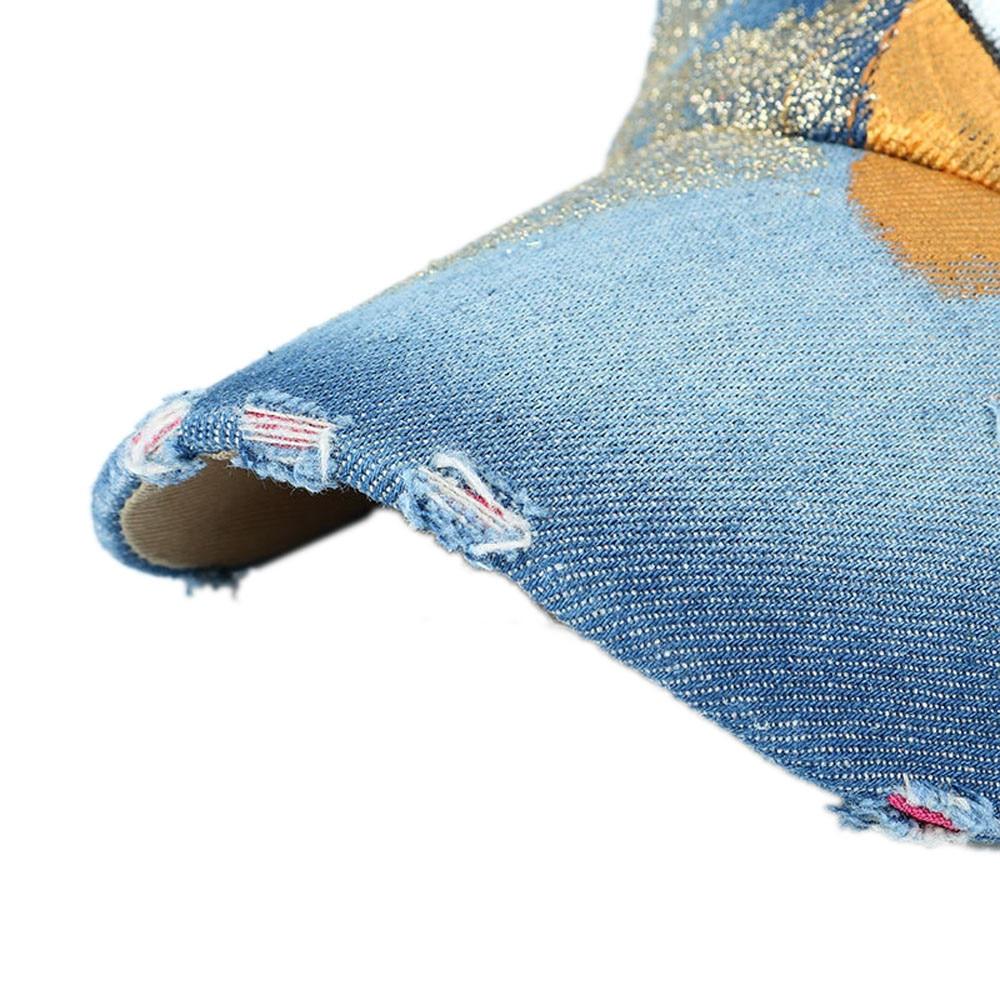 Для женщин и мужчин ручная роспись джинсовая бейсбольная кепка со стразами Snapback хип хоп плоские кепки бейсбол
