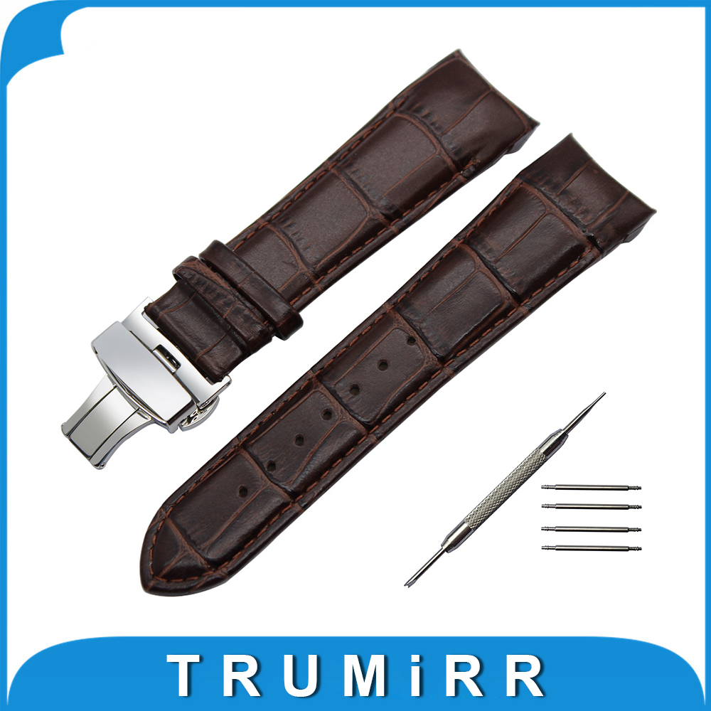 Calf Genuine Leather Watchband Arc Strap for Tissot 1853 T035 Watch Band Buterfly Buckle Strap Wrist Bracelet 22mm 23mm 24mm