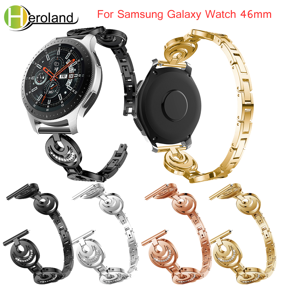For Samsung Galaxy Watch 46mm band Bracelet Watchband for Huami 2S Stainless Steel Replacement smart wirst black with Rhinestone in Watchbands from Watches