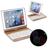 360 Degree Rotate 7color Backlit ABS Plastic Bluetooth Keyboard For IPad 9 7 2017 Pro 9