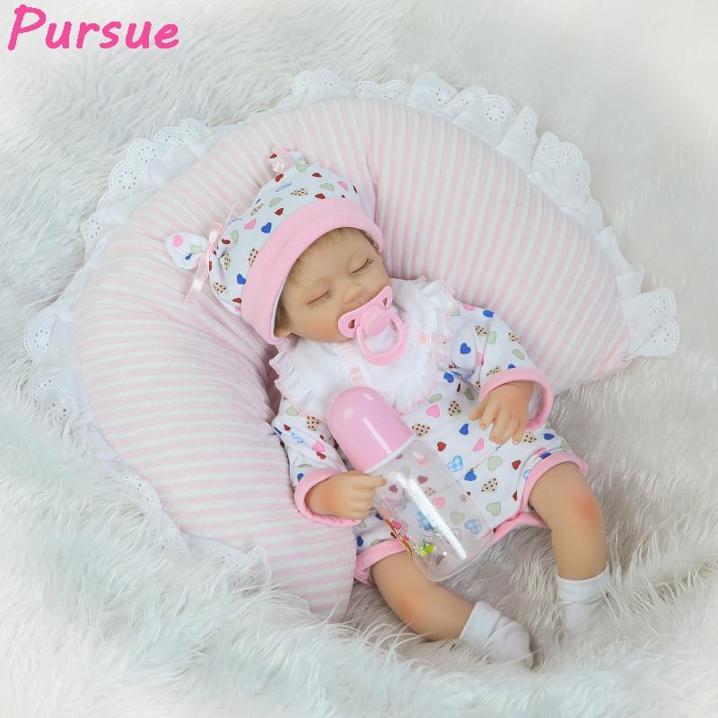 Pursue 43cm Newborn Reborn Babies Silicone Baby Dolls Realistic Fake Babies that Look Real bebe reborn menina de silicone menina