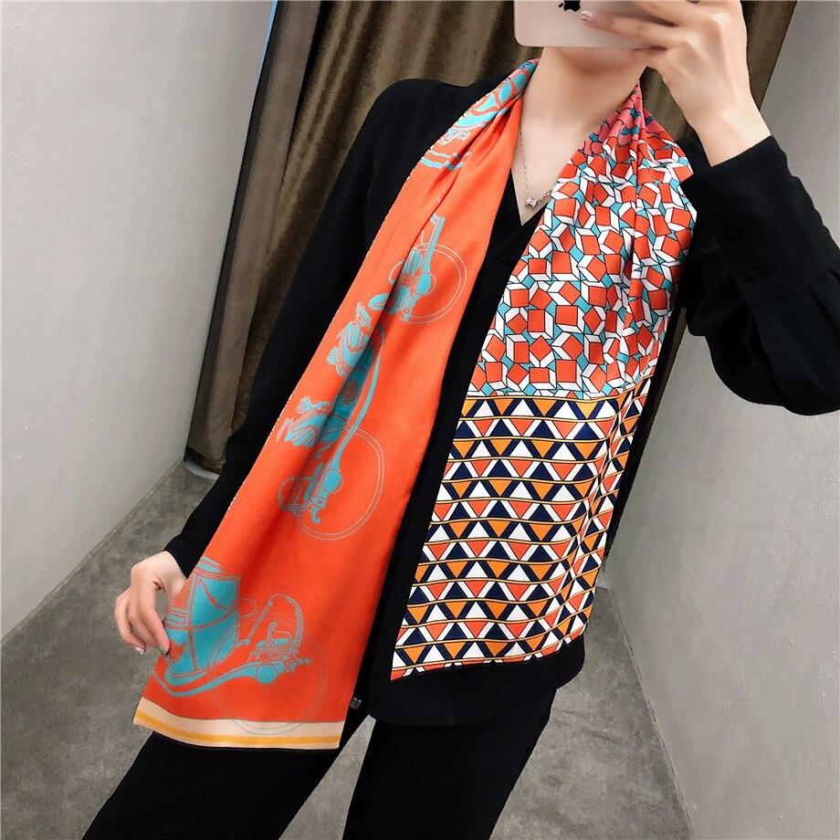 160cm Luxury Brand Design Twill Scarf Double-deck Women Scarf Fashion Tie Neckerchief Head Silk Scarves  & Wraps For Ladies