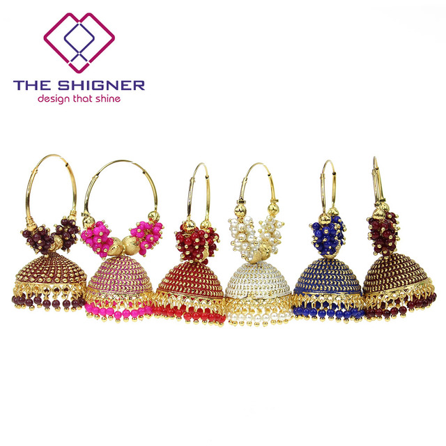 The Shigner Traditional Indian Gold Pearl Beads Bali Hoop Jhumki Jhumka Earrings Bollywood Style Ring Earring Jewelry
