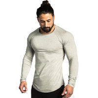 Men Long Sleeves Cotton T Shirt Autumn Style Raglan Sleeve Casual Fashion Clothing Slim Fit Elasticity