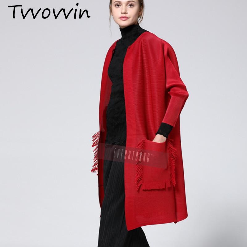 TVVOVVIN 2019 nouveau été et automne mode femmes vêtements manches complètes plissé rouge Coloar point ouvert Cardigan C355