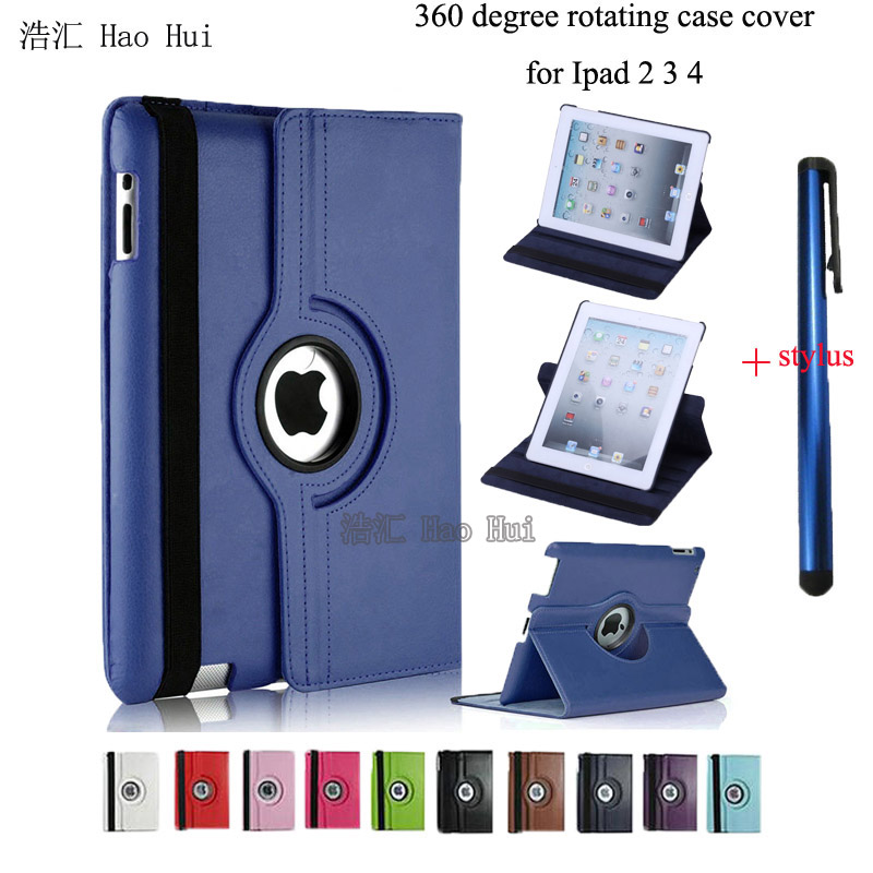 Fashion 360 Rotate PU Leather Smart Stand Flip Case For iPad 4 for iPad 3 for iPad 2 Rotating Cover + Free Stylus Pen