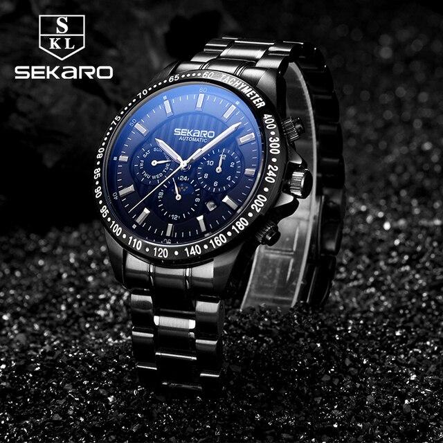 c7e87abc95a Sekaro Cinta de Aço de Moda Masculina de luxo Da Marca Busine Militar  Mecânico Automático Relógios