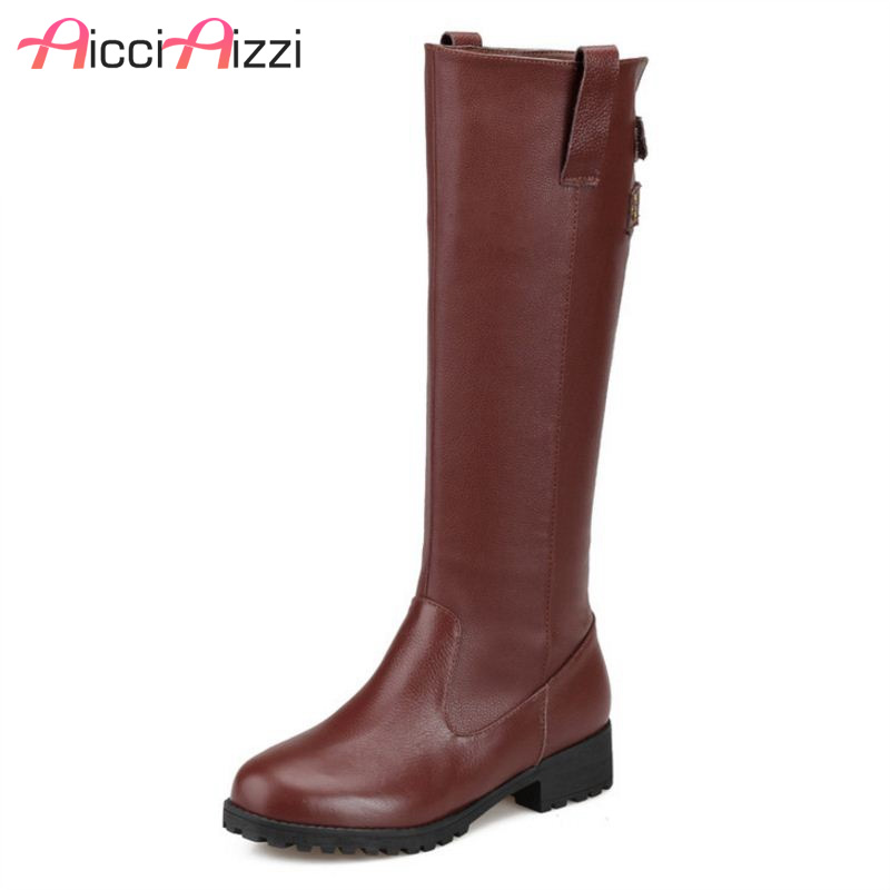 AicciAizzi Size 34-43 Women Boots Round Toe Zipper Real Leather Mid Calf Women Winter Shoes Simple Fashion Woman Footwear