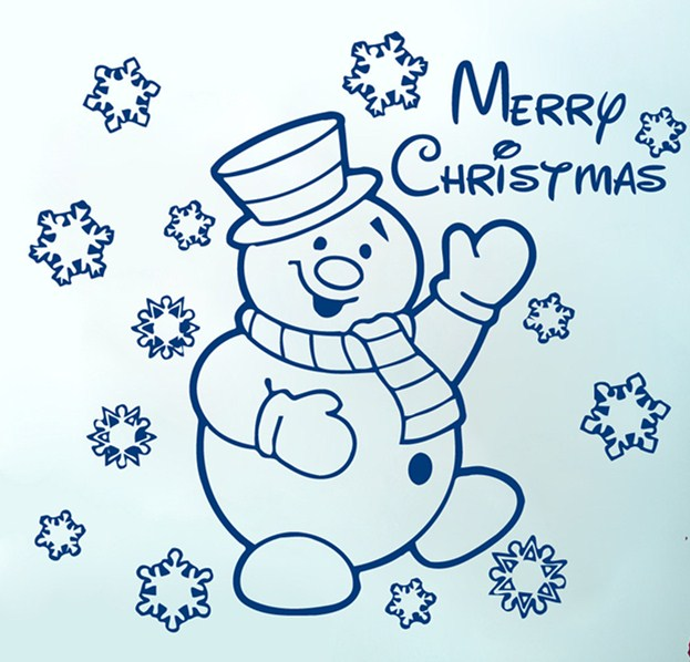US $8.92 25% OFF|Snowman Cute Lovely Wall Mural With Snowflakes Merry  Christmas Quotes Festival Art Home Shop Decoration Removable Sticker F  45-in ...
