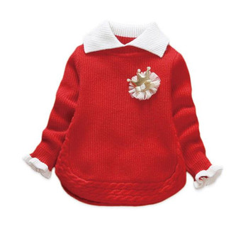DFXD Little Baby Knitwear Girls Sweaters 2017 Autumn Winter Turn Down Collar Soild Baby Pullover Princess Tops Toddler Sweaters