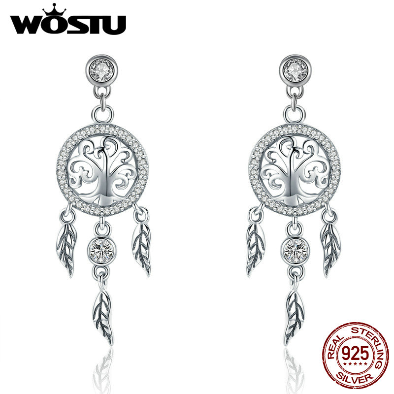 WOSTU High Quality 925 Sterling Silver Dreamcatcher Drop Earrings For Women Female Brand Original Earring Jewelry Gift CQE457