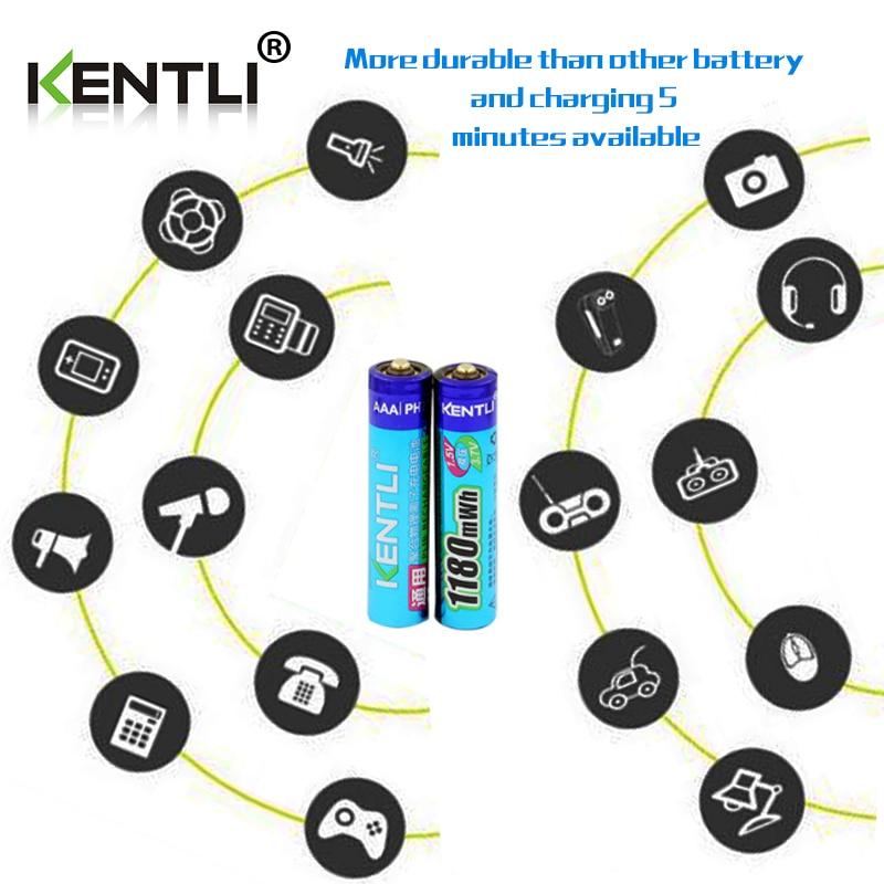 KENTLI 12 шт. 1,5 в 1180mWh AAA полимерные литиевые заряжаемые аккумуляторы + 4 слота литий ионного зарядного устройства - 5