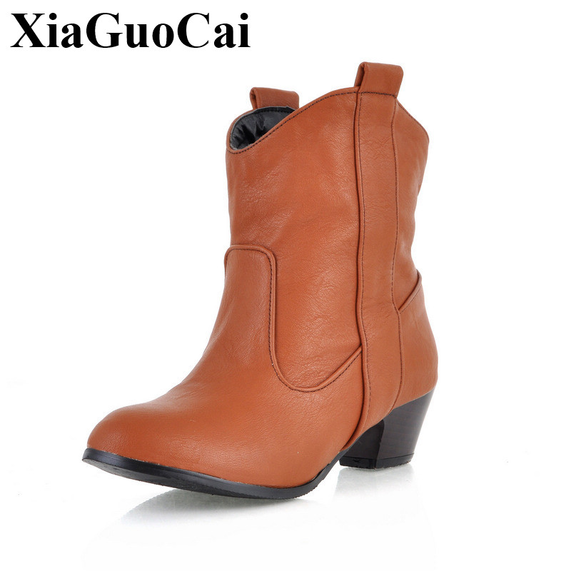 Autumn&winter Ankle Boots Women Shoes Solid All-match Plus Size Comfortable Round Toe Square Heel Outdoor Martin Boots H513 35 hot sale autumn winter shoes round toe fashion ankle women boots sheepskin all match square high heel