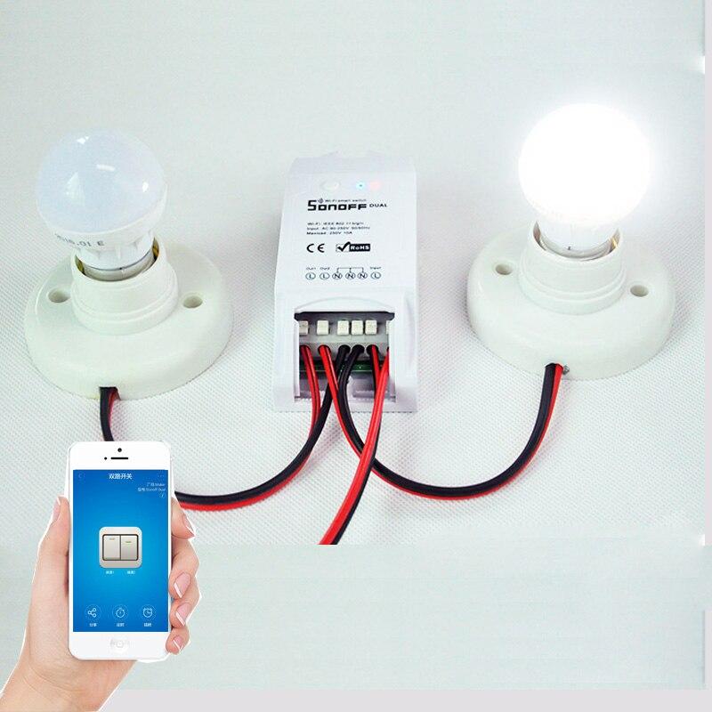 Sonoff Dual Intelligent Switch Wireless WiFi Smart Switch font b Module b font Remote Control Smart