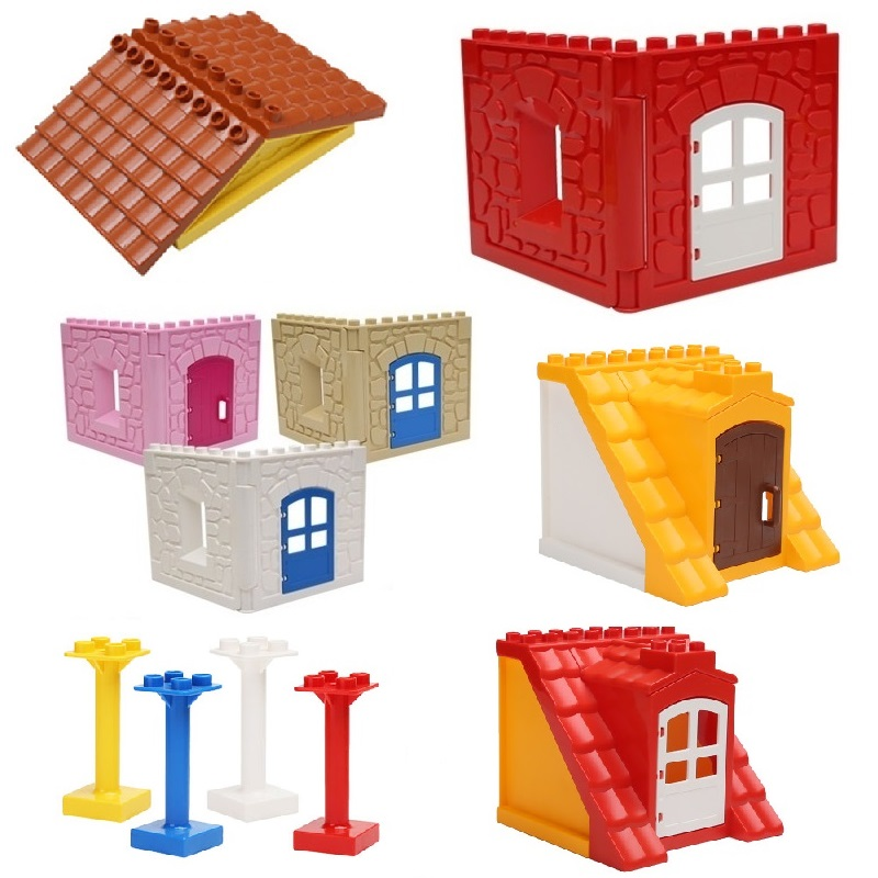 House Set Assemble Brick Big Particles Building Blocks Roof Wall Column  Window Accessory Compatible With Duplo