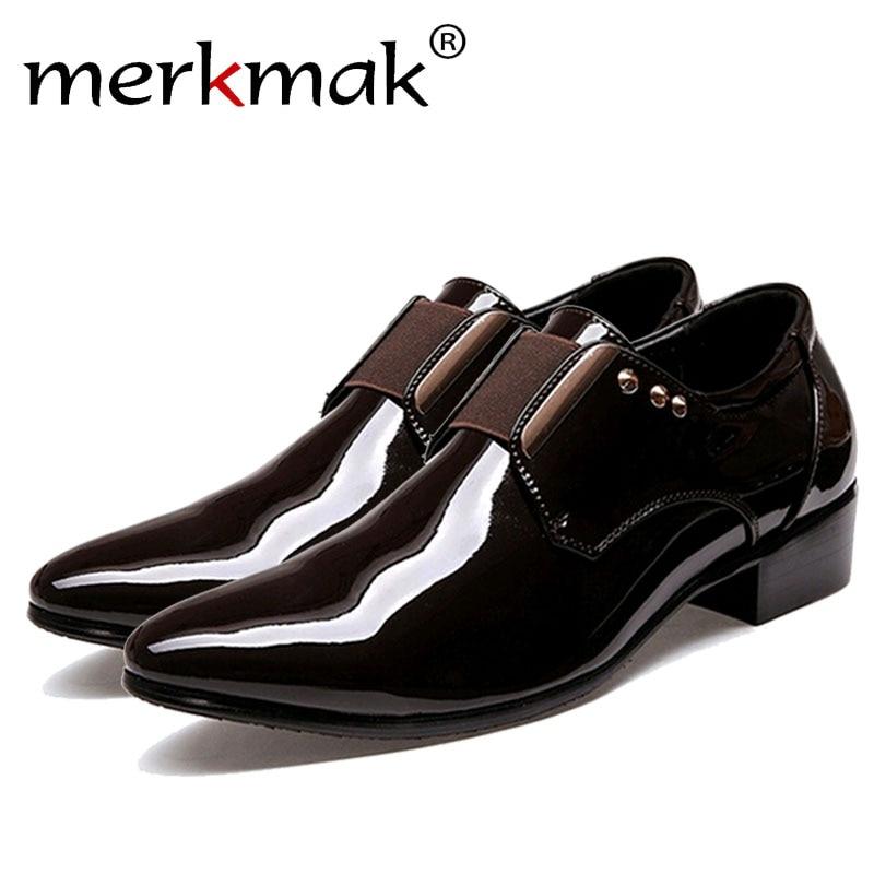 Merkmak 2017 Italian Men Dress Leather Shoes Fashion Formal Business Glitter Pointed Top Slip On Comfortable Man Shoes Drop Ship