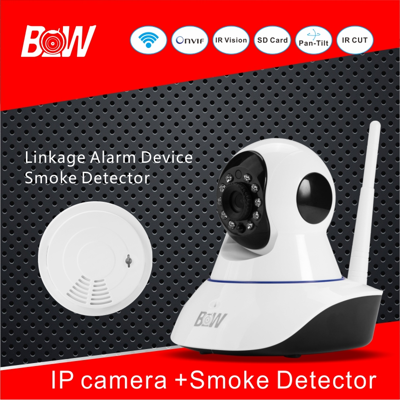 Alarm System CCTV Analog Camera IP + Wifi Smoke Detector Security Camera AHD IP Camera Wireless 720p Surveillance Camera BW02S bw p2p cctv ip camera wifi wireless hd 720p onvif rotatable surveillance security camera cctv automatic sensor detector alarm