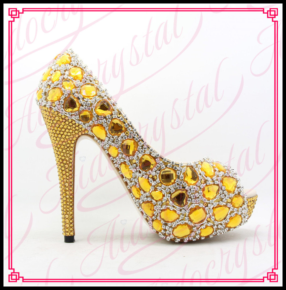 Aidocrystal Women Gold Yellow Crystal Rhinestone Diamond Open Toe High Heel Pump Wedding Shoes for Bride Girl Formal Dress Shoes aidocrystal wite open toe pearls high heel shoes women bridal party shoes made in china