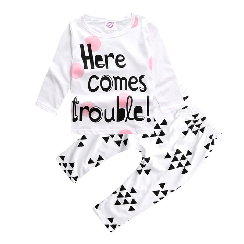 Children Clothing 2pcs Sets Long Sleeve Tops Geometry Pants Fashion Letter Boy Girl Kid Autumn Suit
