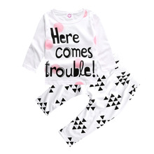 Children Clothing 2pcs Sets Long Sleeve Tops+ Geometry Pants Fashion Letter Boy Girl Kid Autumn Suit Fall Cotton Sport Tracksuit