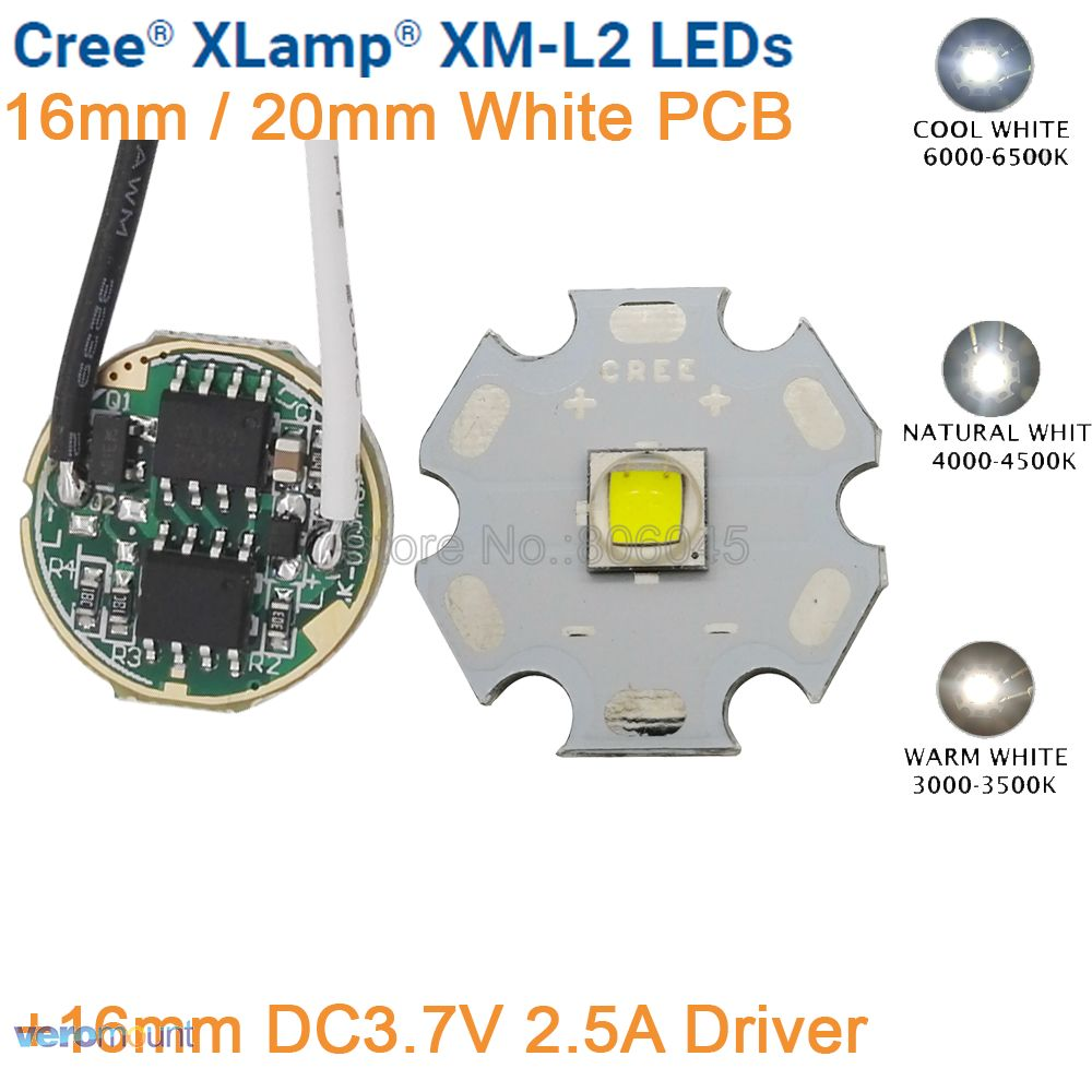 Cree XML2 XM-L2 T6 Cool White Warm White Neutral White <font><b>10W</b></font> <font><b>LED</b></font> Emitter <font><b>20mm</b></font> Black or White PCB with DC3.7V 2.5A 5 Mode <font><b>Driver</b></font> image