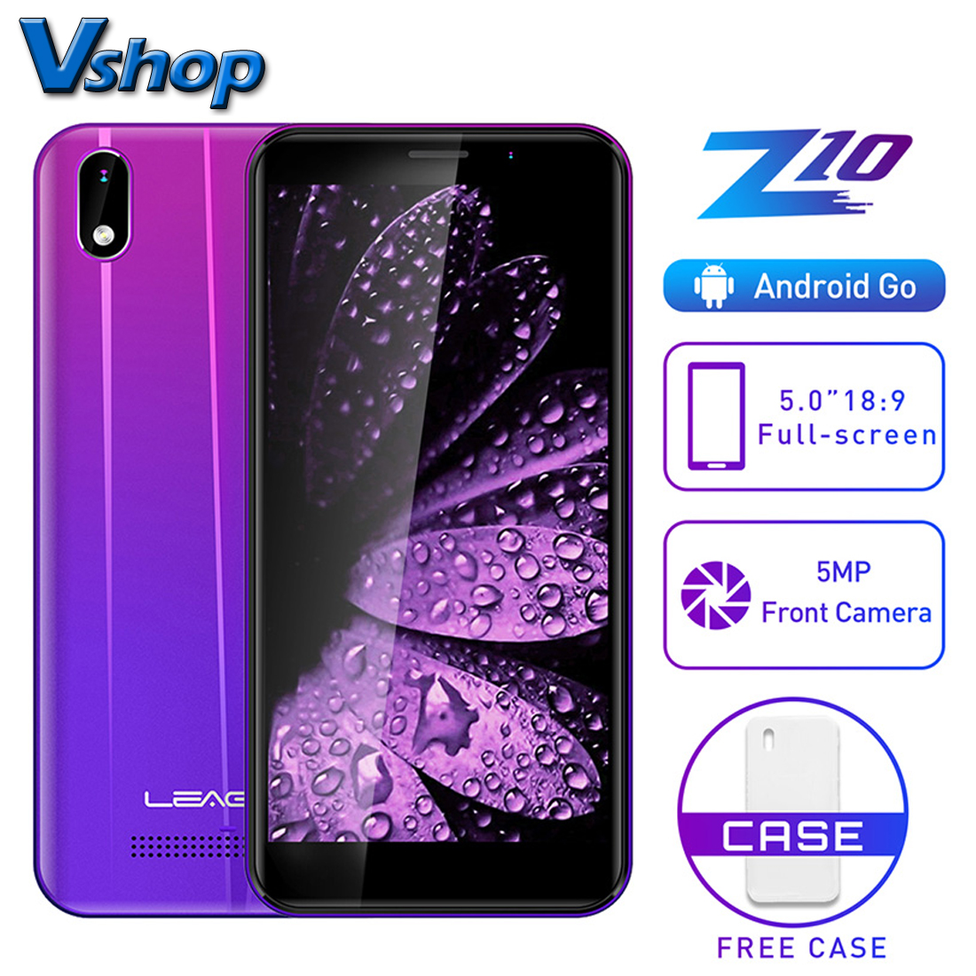 "LEAGOO Z10 Android Mobile Phone 5.0"" 18:9 Full Screen 1GB RAM 8GB ROM MT6580 Quad Core 2000mAh 5MP Camera Dual SIM 3G Smartphone(China)"