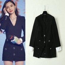 New 2019 Fall womens V-neck coat Chic slim fit pockets jackets A601