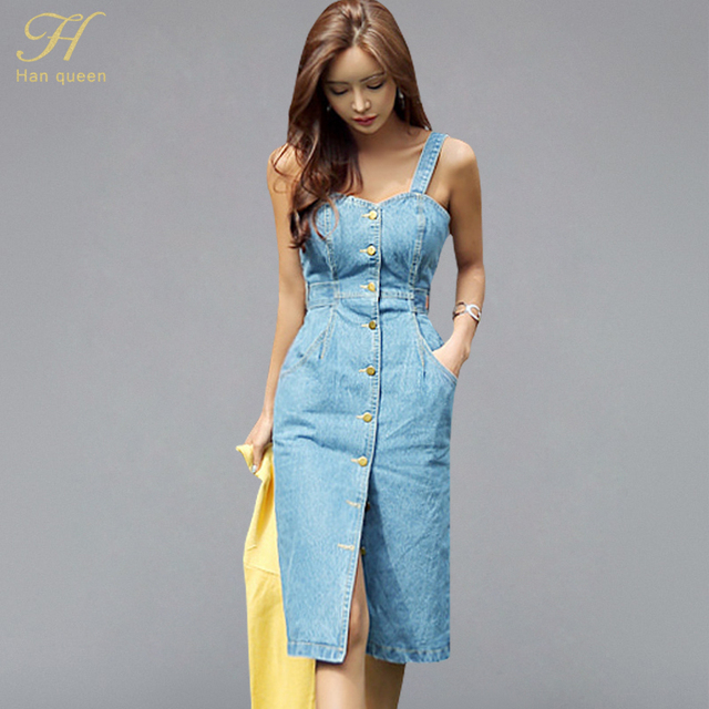 11aa9cd9 H Han Queen 2018 Sexy Sleeveless Backless Bow Tie Strap Jeans Dress Women  Single-Breasted
