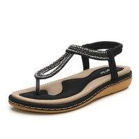 DongCiTaCi Summer Women Flat Gladiator Sandals Shoes Woman Bohemia Flip Flop Crystal Weave 2018 Casual Beach