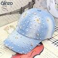 Cinco pontos estrelas strass boné de beisebol da forma das mulheres da Senhora casuais rebite denim chapéu Feminino Frete grátis