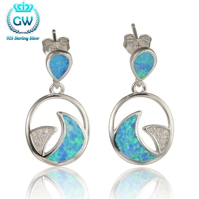 925 Sterling Silver Opal Earrings For Women 2015 New European Style Wedding & Engagement GW Brand Jewelry Fe352