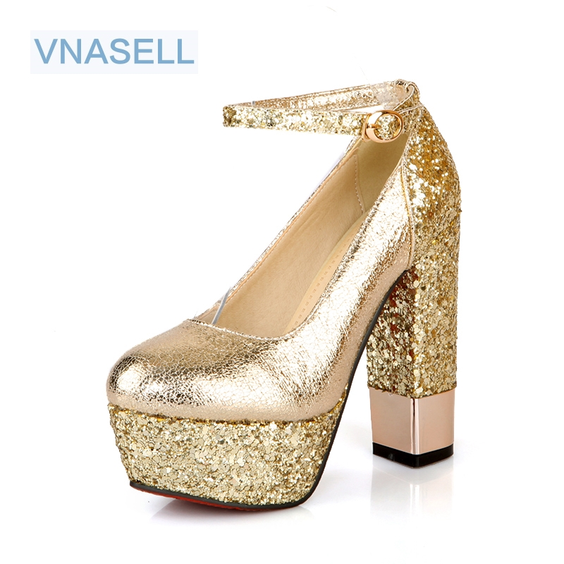New fashion large size 32-42 Spring/Autumn women shoes sexy Round Toe Glitter Platform red bottom high heels zapatos mujer 8colors fashion night club shoes high heel red bottom 18cm sexy slip on women platform shoes round toes size eu35 44 a18