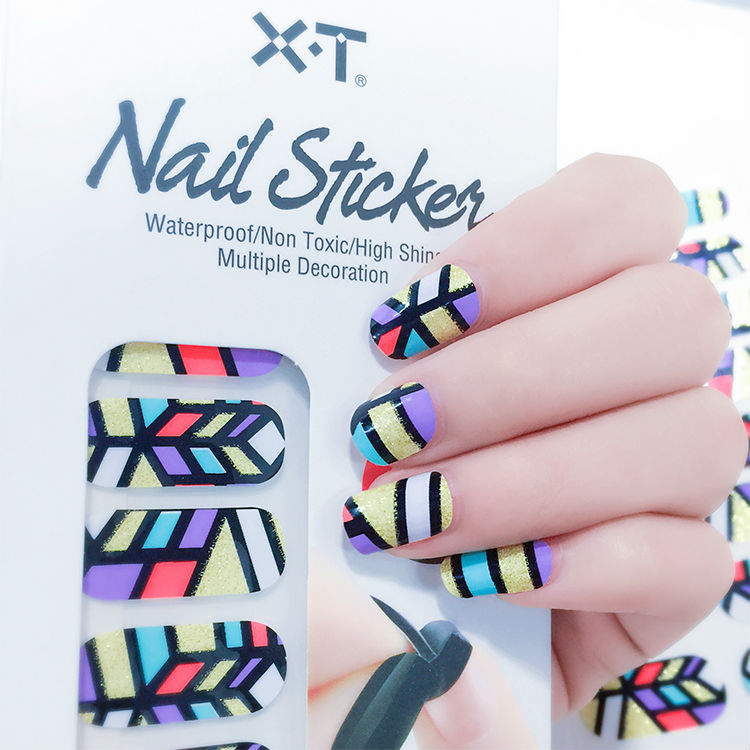 X.T XT Nail Polish Strips French Design Blue With Golden Lines ...