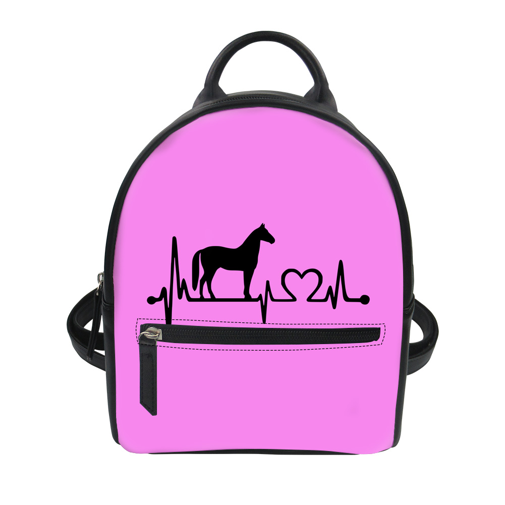 9fa75c72c3 FORUDESIGNS Cartoon Heart Stick Figure Horse Printing PU Backpacks Purple  Gilrs Cute Schoolbags Rucksack Daily Back Pack-in Backpacks from Luggage    Bags on ...