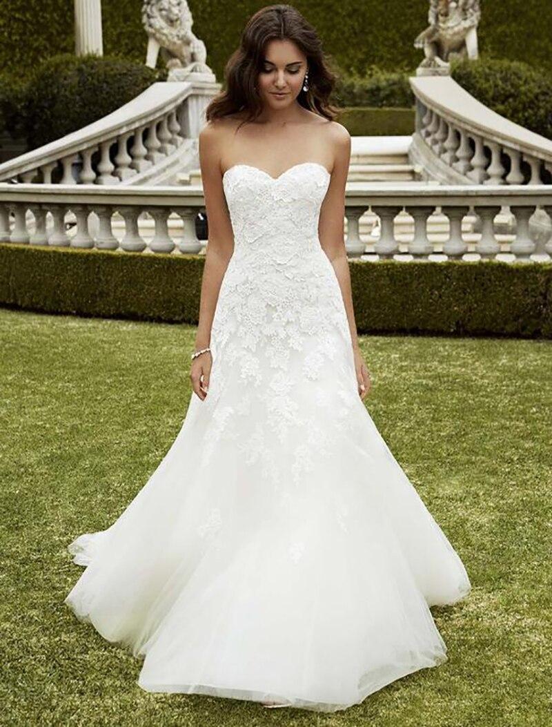 Smileven Mermaid Wedding Dress Strapless Lace Sweetheart Boho Bride Dresses Floor Length Elegant Wedding Bridal Gowns 2019