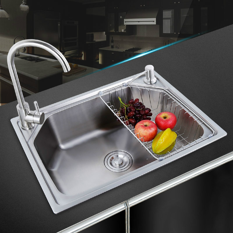Permalink to Kitchen sink 304 stainless steel Finished brushed single bowl sink kitchen above counter or undermount sinks mx3301759